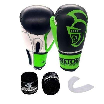 Kit Luva de Boxe/Muay Thai Pretorian Performance 14oz Verde