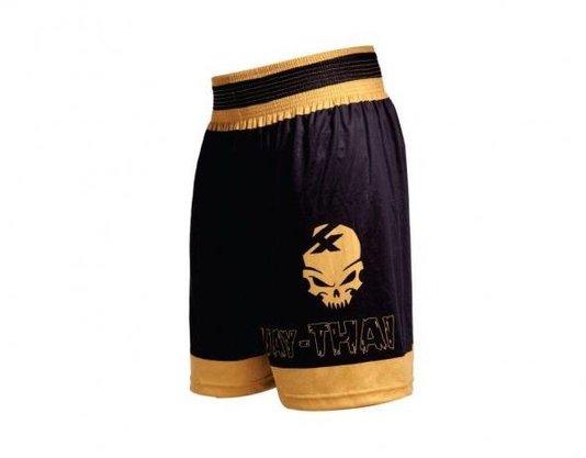 Shorts Muay Thai Preto Dourado Kanxa